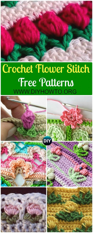 Collection of Crochet Flower Stitch Free Patterns: crochet inline tulip stitch, open work flower stitch, rosebud stitch, and more inline flower pattern