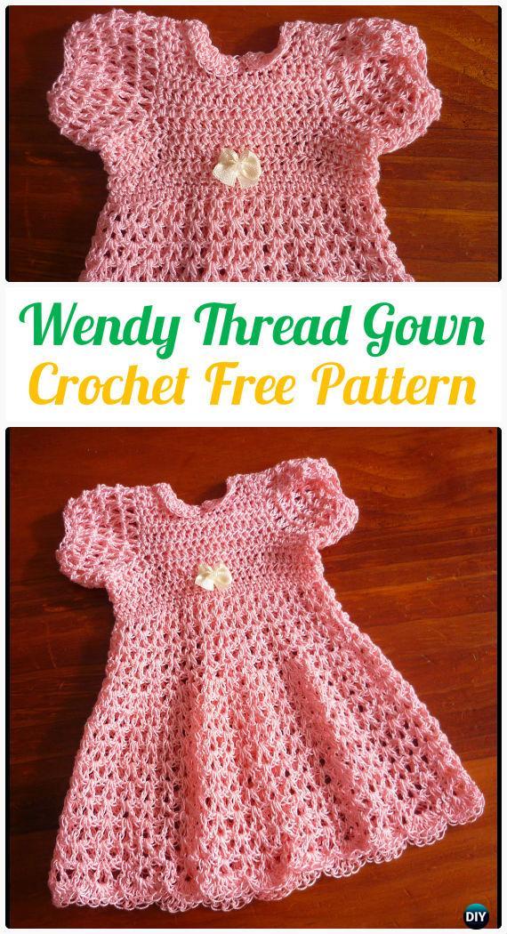 Wendy Thread Gown Crochet FreePattern - #Crochet Girls #Dress Free Patterns