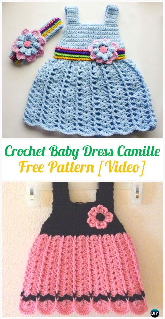Baby Dress Camille Crochet Free Pattern - #Crochet Girls #Dress Free Patterns