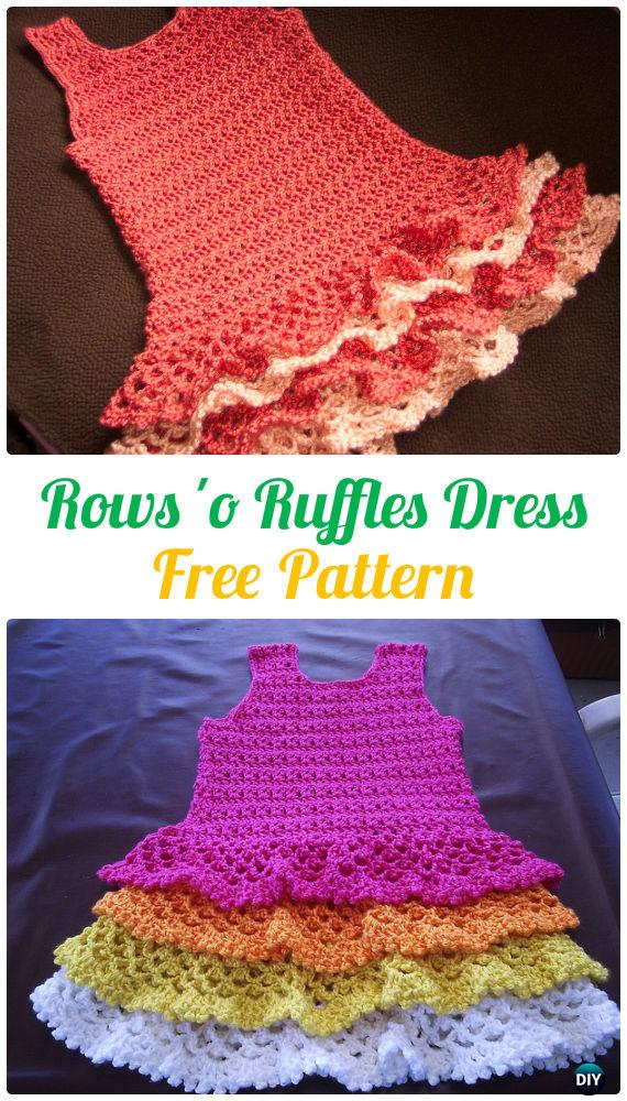 Rows 'o Ruffles Dress Crochet Free Pattern - #Crochet Girls #Dress Free Patterns
