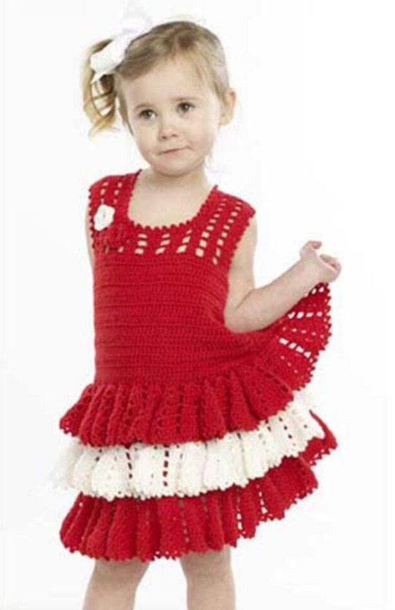 Flounce Dress Crochet Free Pattern - #Crochet Girls #Dress Free Patterns
