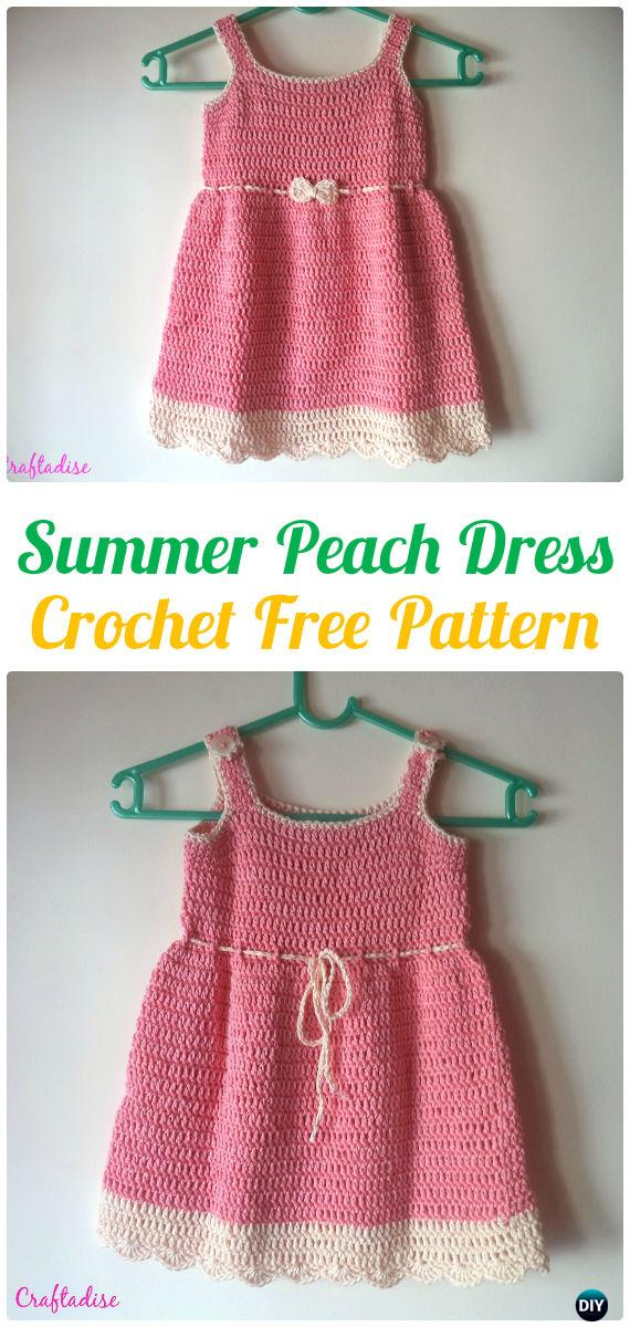 Girls Summer Peach Dress Crochet Free Pattern - #Crochet Girls #Dress Free Patterns