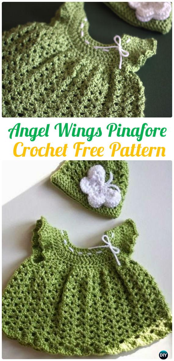 Angel Wings Pinafore Dress Crochet Free Pattern - #Crochet Girls #Dress Free Patterns
