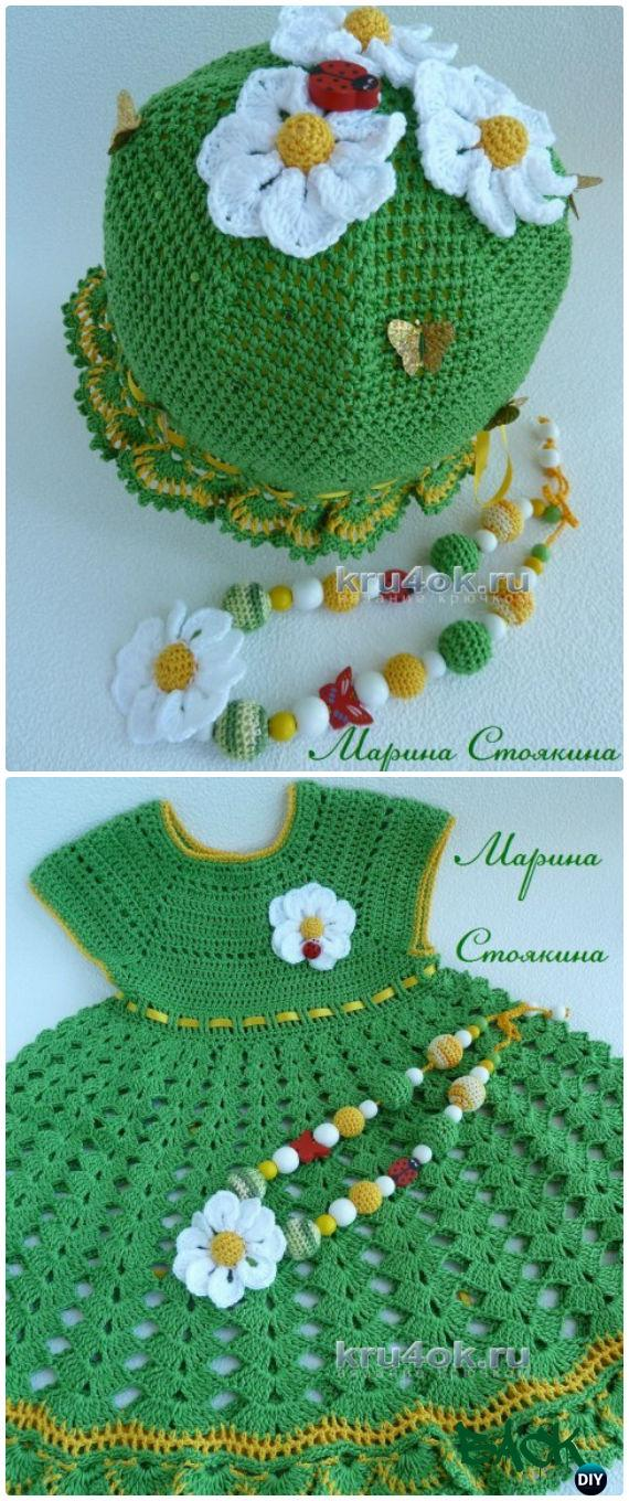 Crochet girls dress free patterns instructions crochet lush flower dress free diagram crochet girls dress free patterns ccuart Image collections