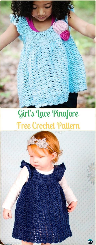 Crochet Girl's Lace Pinafore Free Pattern - Crochet Girls Dress Free Patterns