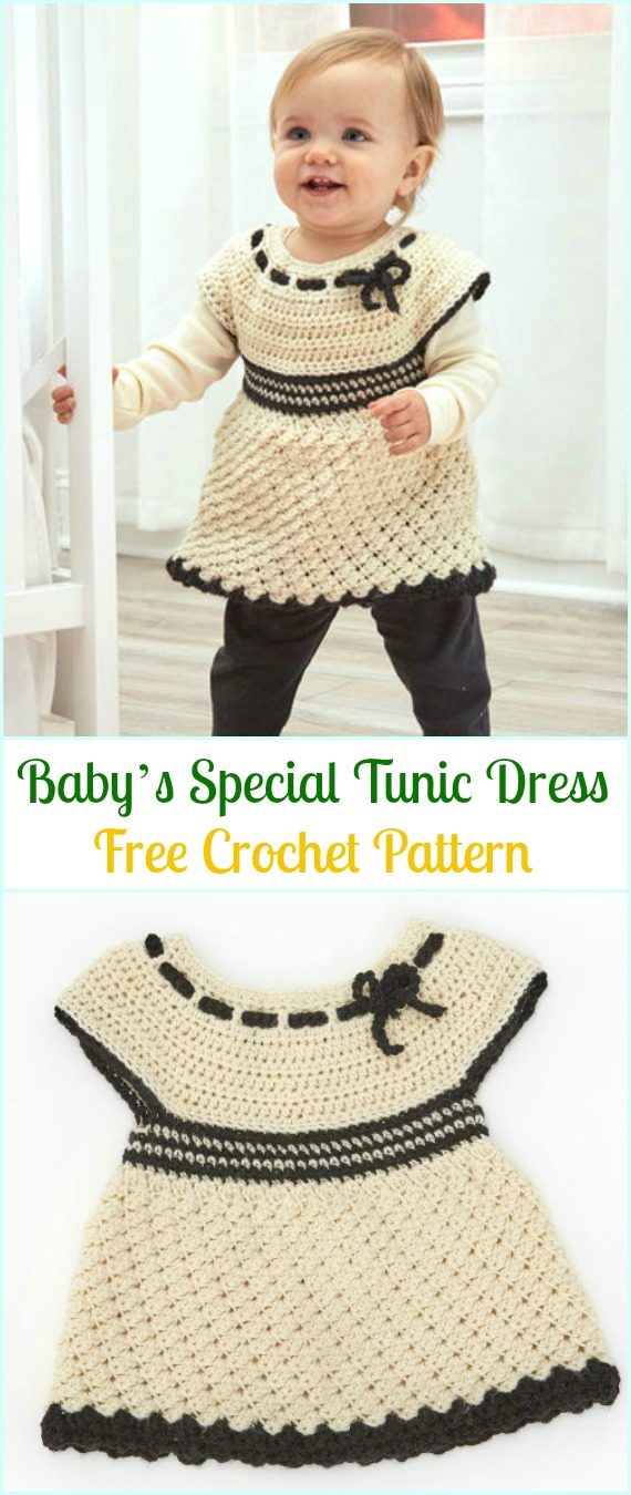 Crochet Baby's Special Tunic Dress Free Pattern- #Crochet Girls #Dress Free Patterns