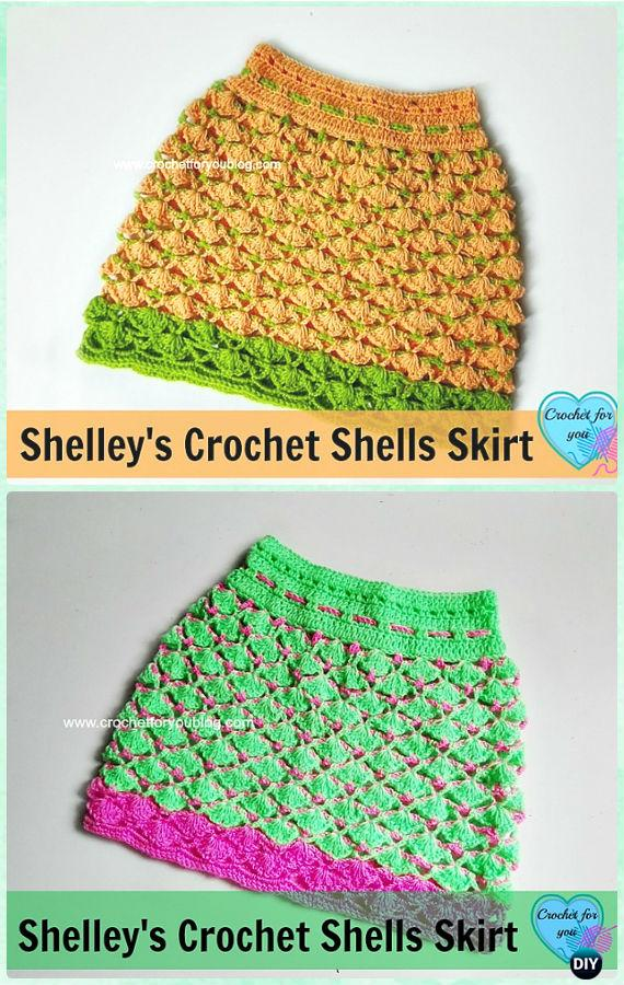 Crochet Shells Skirt Free Pattern - Crochet Girls Skirt Free Patterns