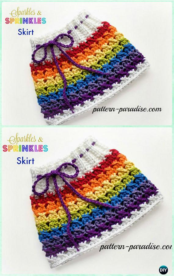 Crochet X Stitch, Sparkle & Sprinkles Skirt Free Pattern - Crochet Girls Skirt Free Patterns