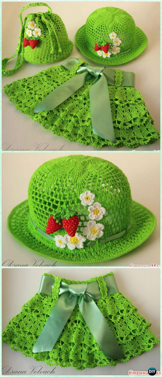 Crochet Summer Berry Meadow Hat Skirt Free Pattern - Crochet Girls Skirt Free Patterns