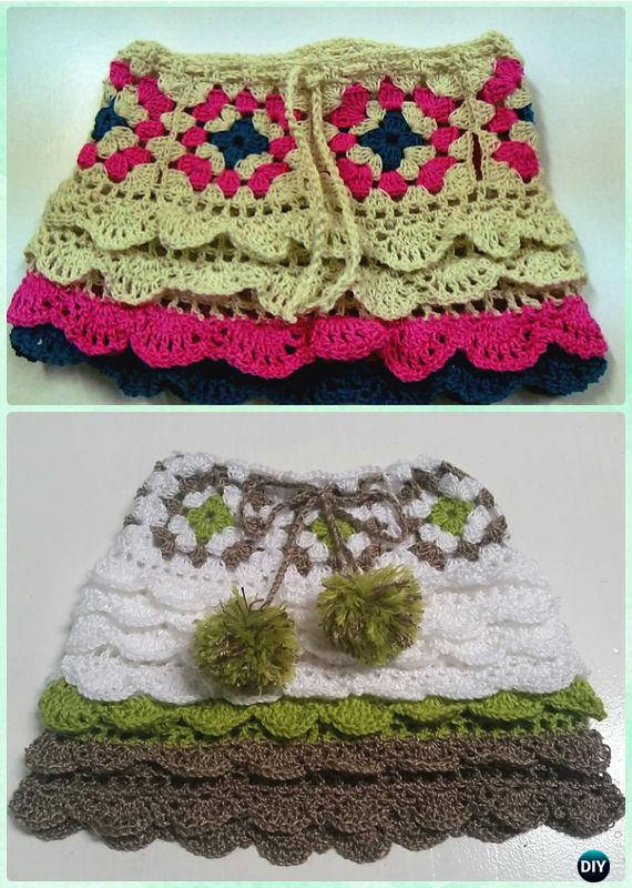 Crochet Granny Square Flounced Skirt Free Pattern - Crochet Girls Skirt Free Patterns
