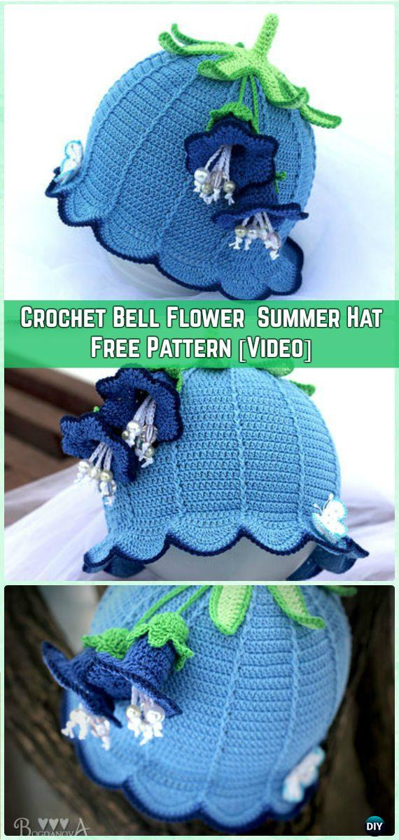 f461892a795 Crochet Baby Bell Flower Summer Hat Sun Hat Free Pattern  Video  - Crochet  Girls