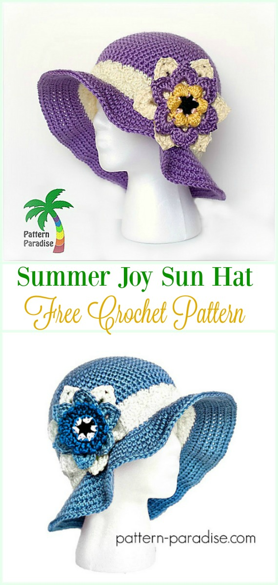 Crochet Summer Joy Sun Hat Free Pattern- #Crochet ; Girls #SunHat Free Patterns