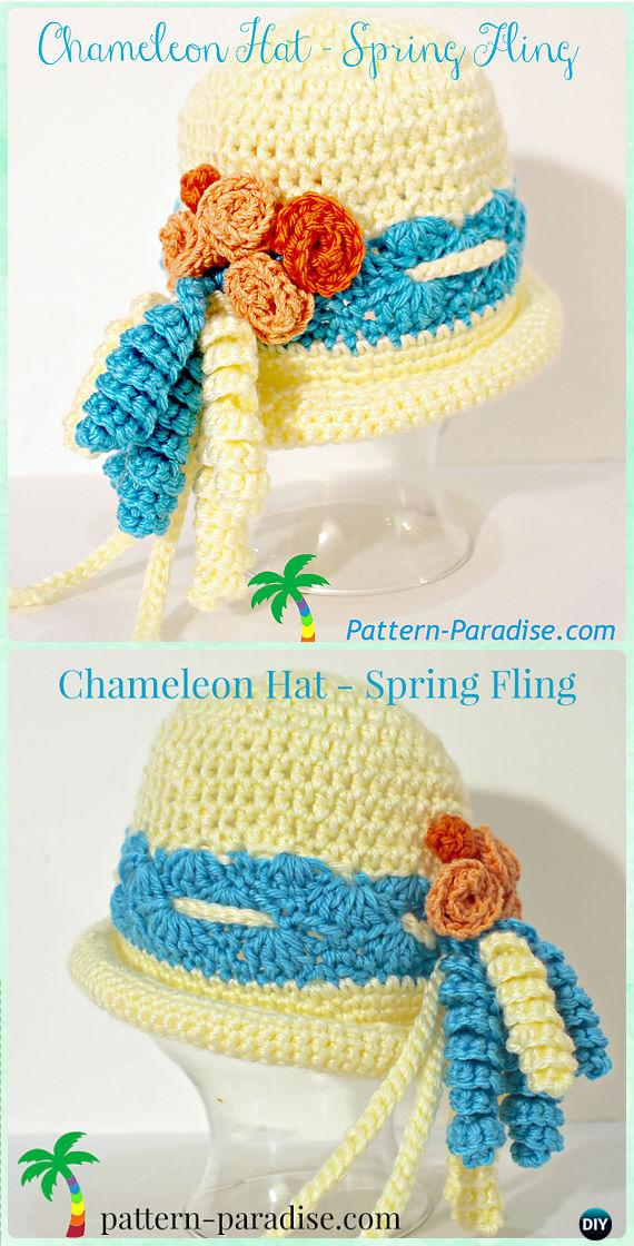 Crochet Chameleon Hat - Spring Fling Sun Hat Free Pattern- Crochet Girls Sun Hat Free Patterns