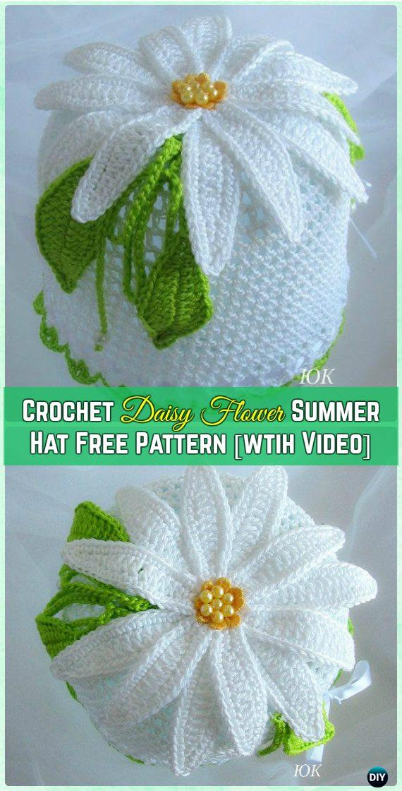 Crochet Summer Hat Daisy Free Pattern with Video - Crochet Girls Sun Hat Free Patterns