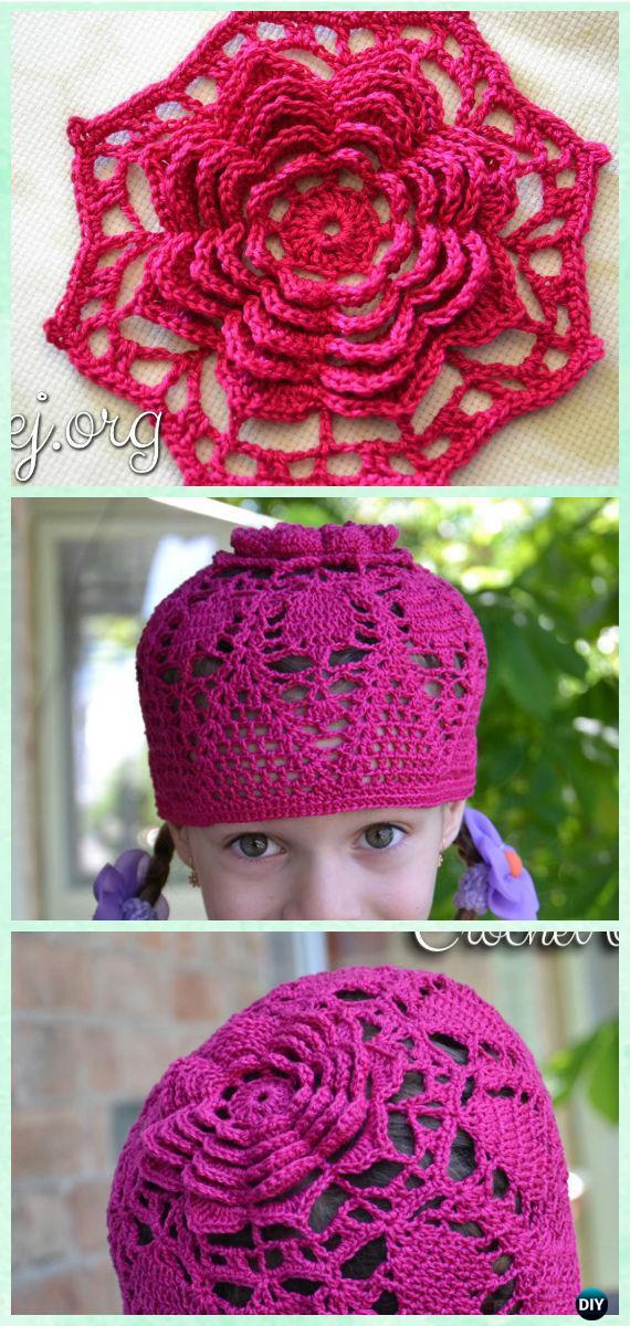 Crochet Multilayered Flower Summer Hat Free Pattern with Video - Crochet Girls Sun Hat Free Patterns