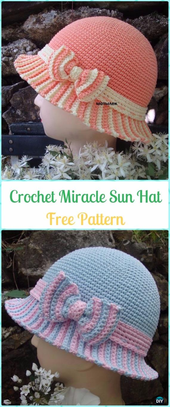 Crochet Miracle Sun Hat with Bow Free Pattern - Crochet Doily Free Patterns