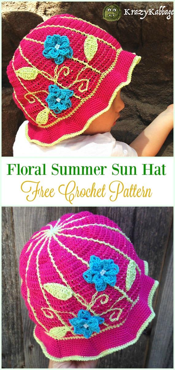 Crochet Floral Summer Sun Hat Free Pattern- #Crochet ; Girls #SunHat Free Patterns