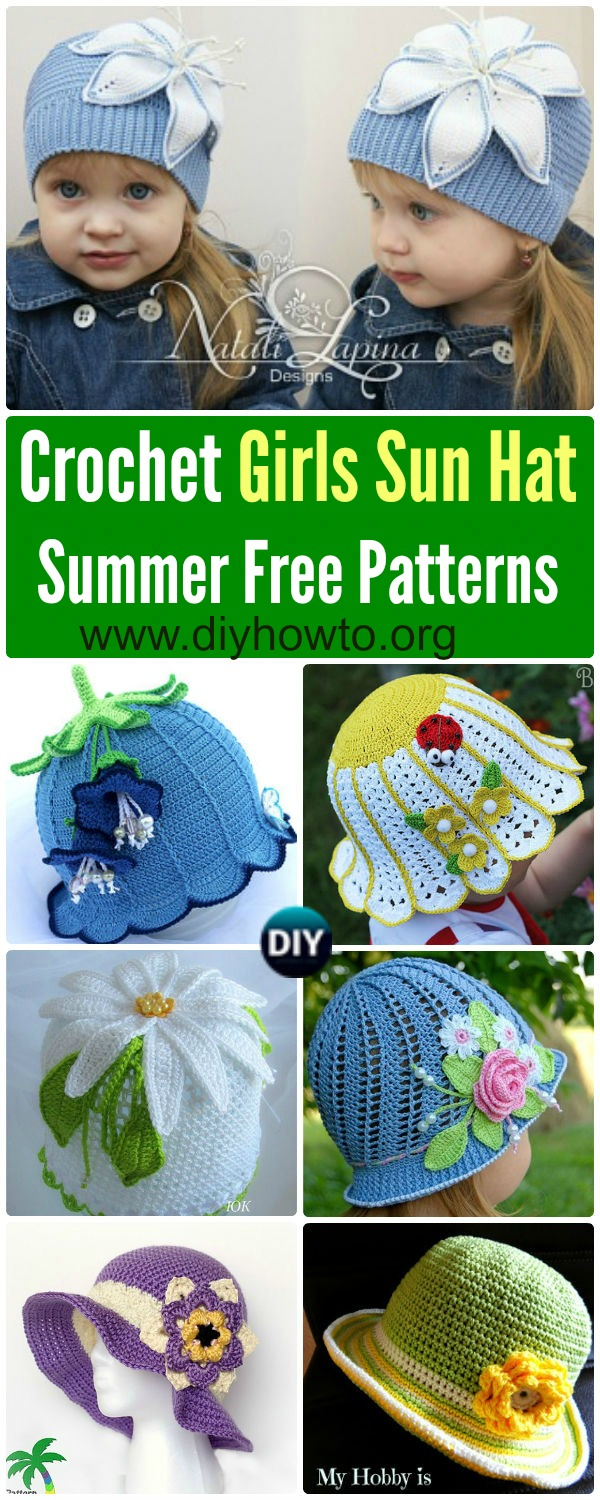 Collection of Crochet Girls Sun Hat Free Patterns & Instructions: Crochet Spring Flower Hat, Crochet Summer Sun Hat, Crochet Cloche Hat