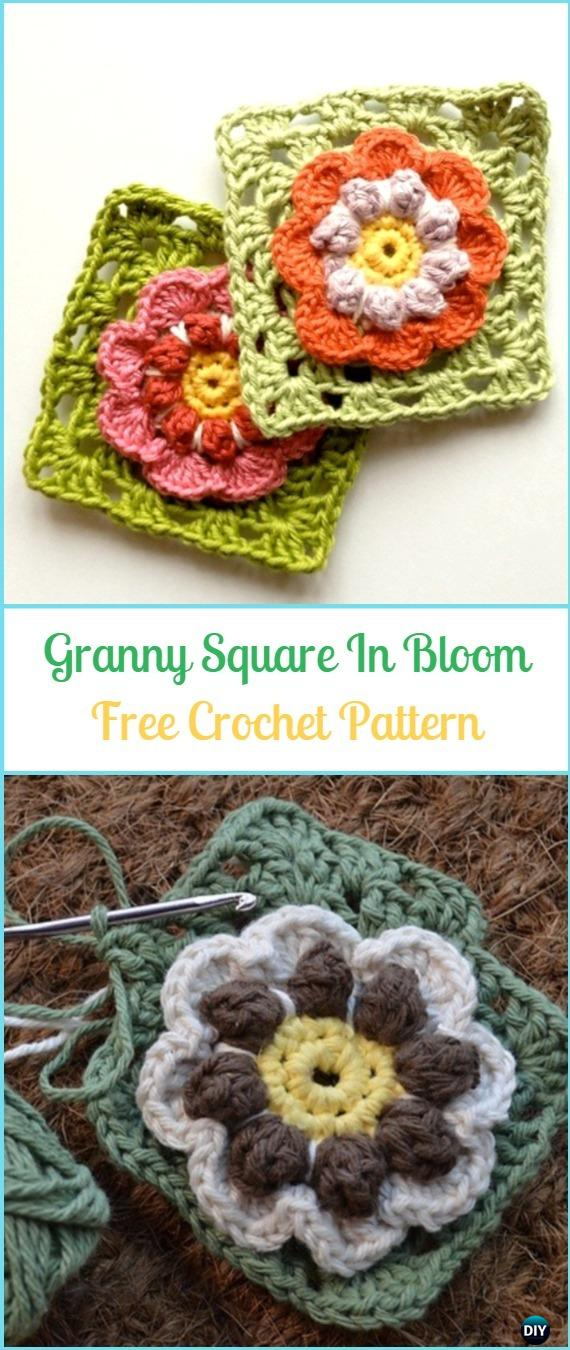 Crochet Granny Square In Bloom Free Pattern - Crochet Granny Square Free Patterns