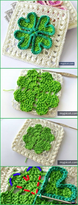 Crochet Four-leaf CloverGranny Square Free Pattern - Crochet Granny Square Free Patterns