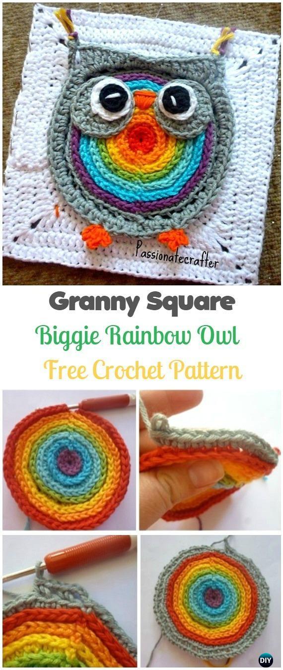 Crochet Biggie Rainbow Owl Granny Square Free Pattern - Crochet Granny Square Free Patterns