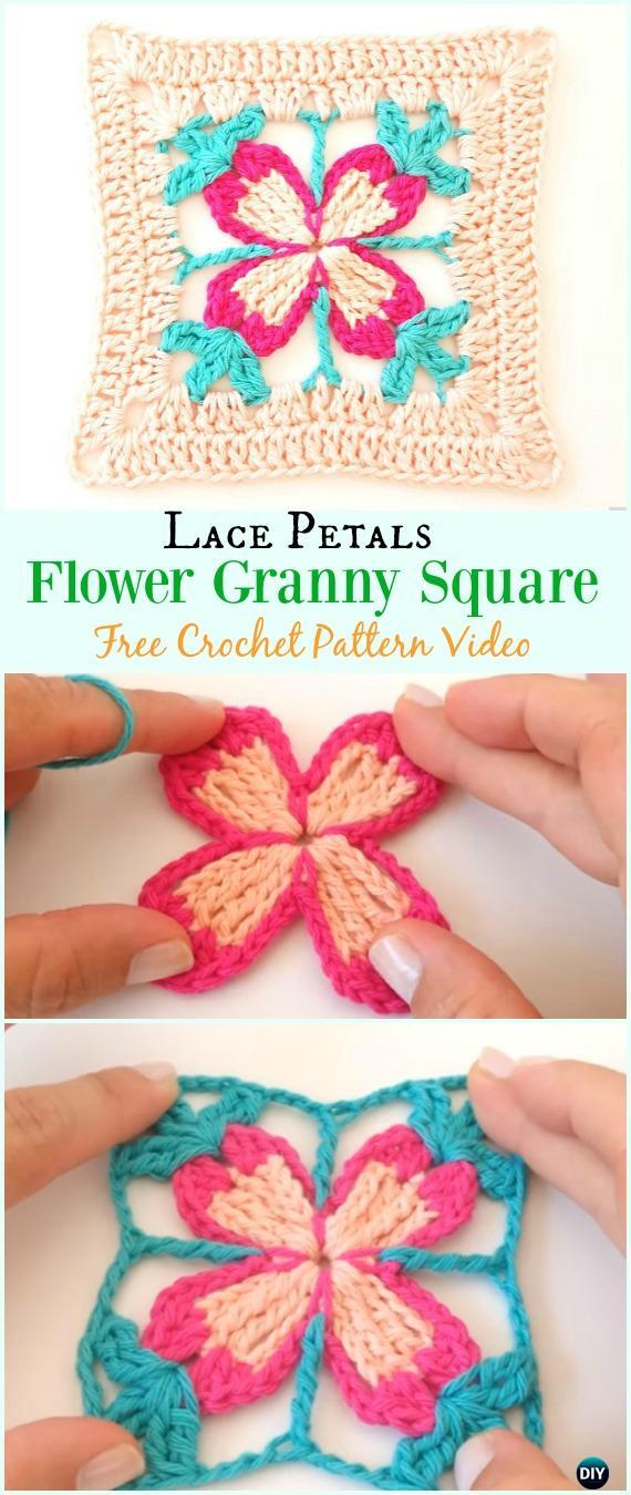 Crochet Lace Petal Flower Granny Square Free Pattern Video - #Crochet #Granny Square Free Patterns