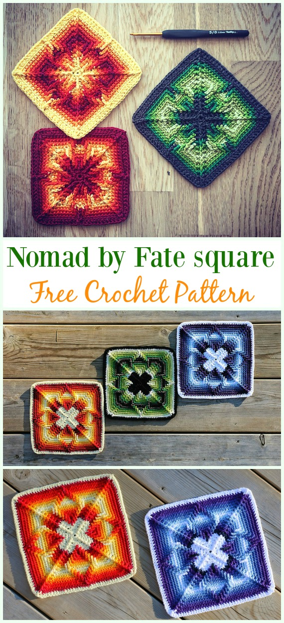 Crochet Nomad by Fate Square  Free Pattern  - #Crochet #Granny Square Free Patterns
