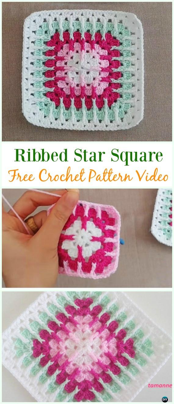 Crochet Ribbed Star Square Free Pattern Video Crochet Granny