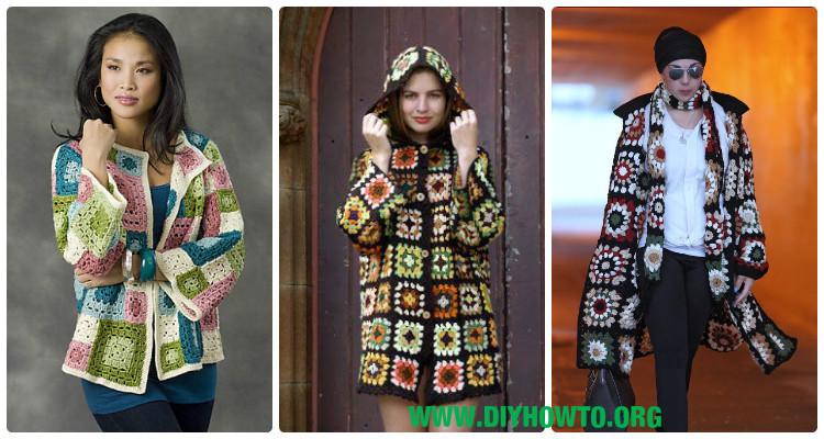c35005a10e6de3 Crochet Granny Square Jacket Cardigan Free Patterns