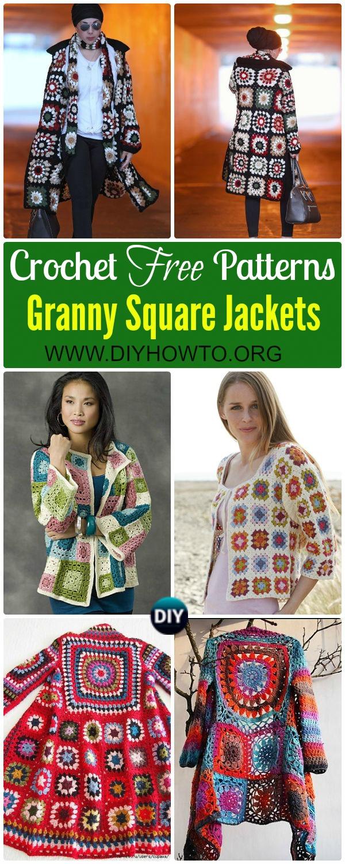 Crochet Granny Square Jacket Cardigan Free Patterns: Crochet Granny Square Fashion, Jacket, Coat, Cardigan, Coatigan in BOHO style