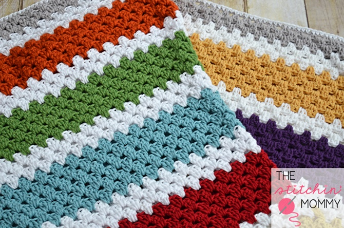 Crochet Stashbuster Granny Stripe Afghan Free Pattern Instruction - Video