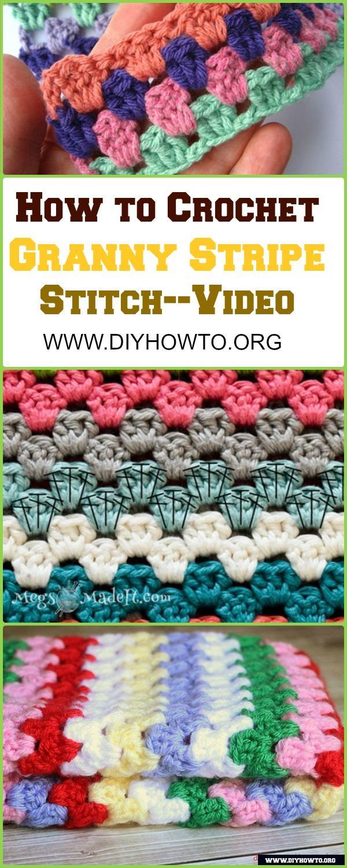 Crochet Granny Stripe Stitch Free Pattern with Picture Instruction - Video: Crochet Basic Granny Stripe Stitch Blanket, Handbag, Home Decoration.