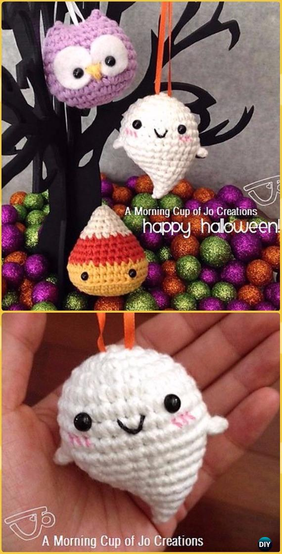 Crochet Baby Ghost Halloween Ornaments Free Pattern -Crochet Halloween Amigurumi Free Patterns