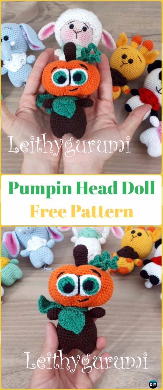 Crochet Halloween Pumpkin Head Doll Free Pattern -Crochet Halloween Amigurumi Free Patterns