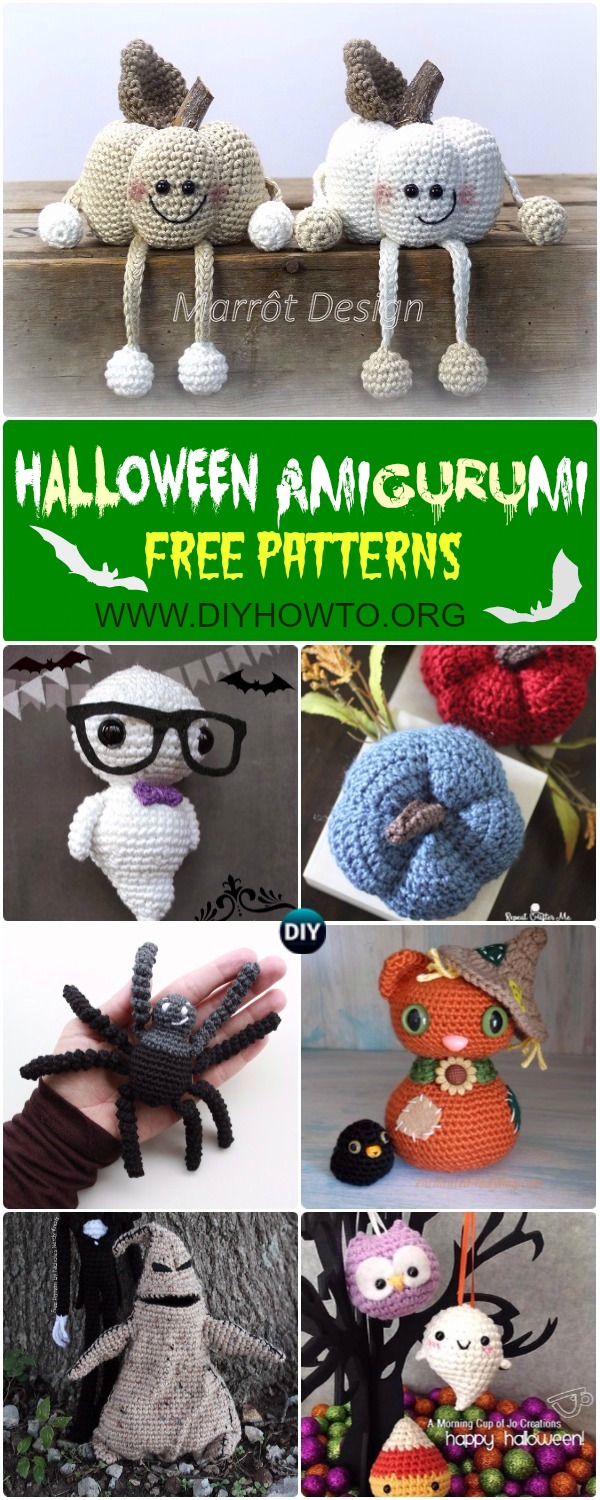 #Crochet Halloween Amigurumi Free Patterns Instructions: Halloween Cat, Halloween Ghost, Pumpkin, Owl, Spider Softies, Toys, Home Decor