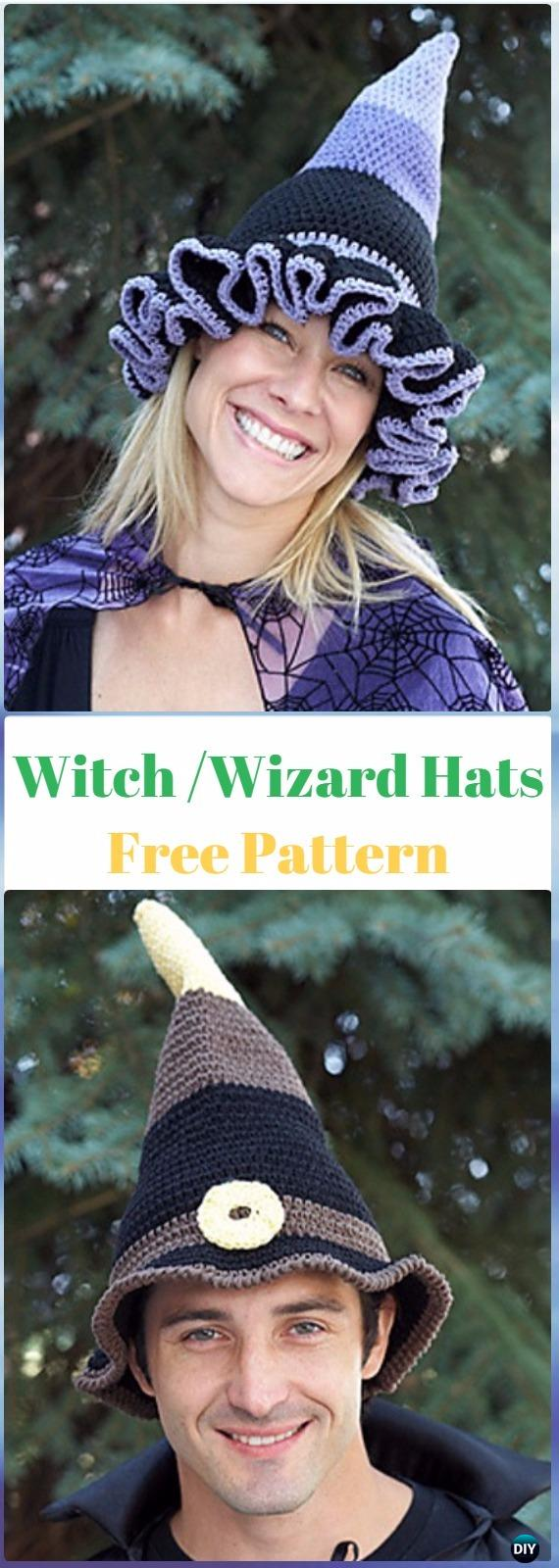 Crochet Witch or Wizard Hats Free Pattern - Crochet Halloween Hat Free Patterns