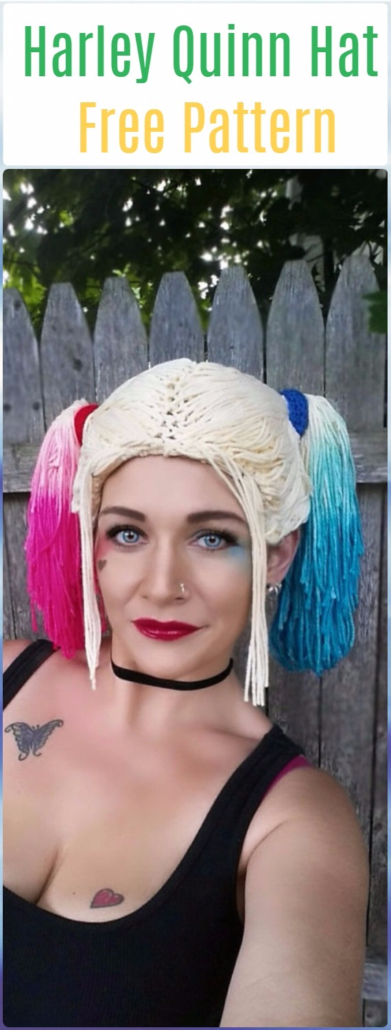 Crochet Harley Quinn Hat Free Pattern - Crochet Halloween Hat Free Patterns