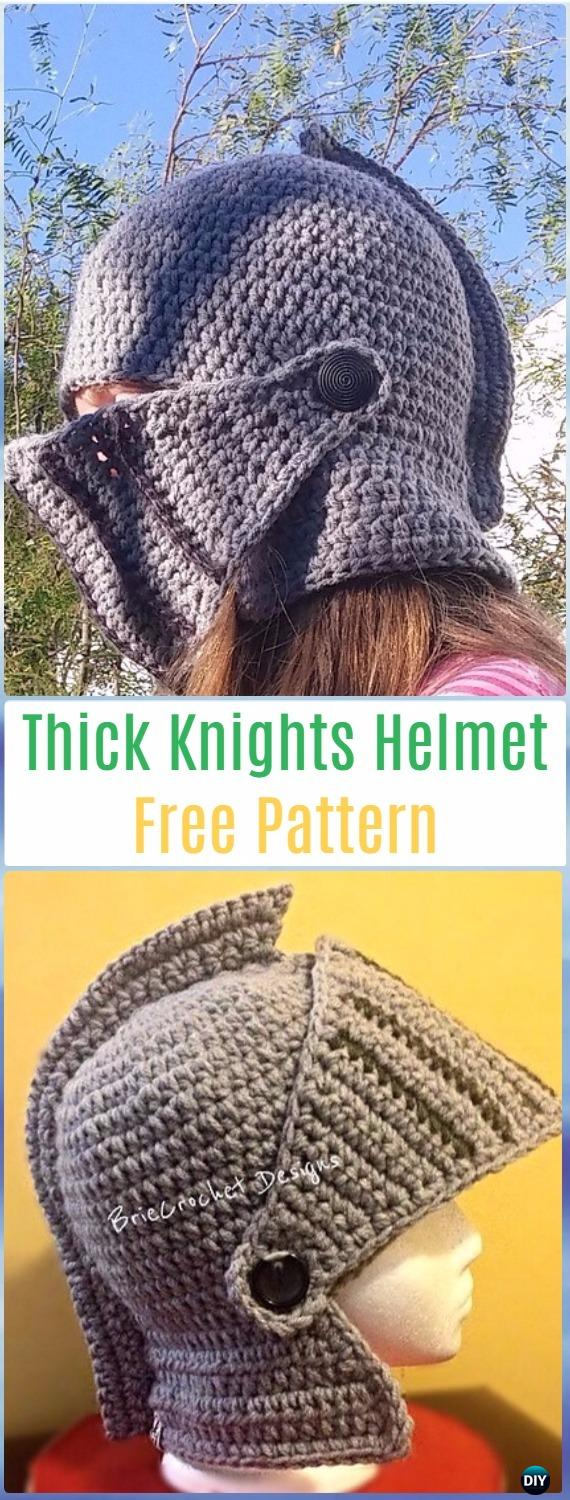 Crochet Extra Thick Knights Helmet Free Pattern - Crochet Halloween Hat Free Patterns
