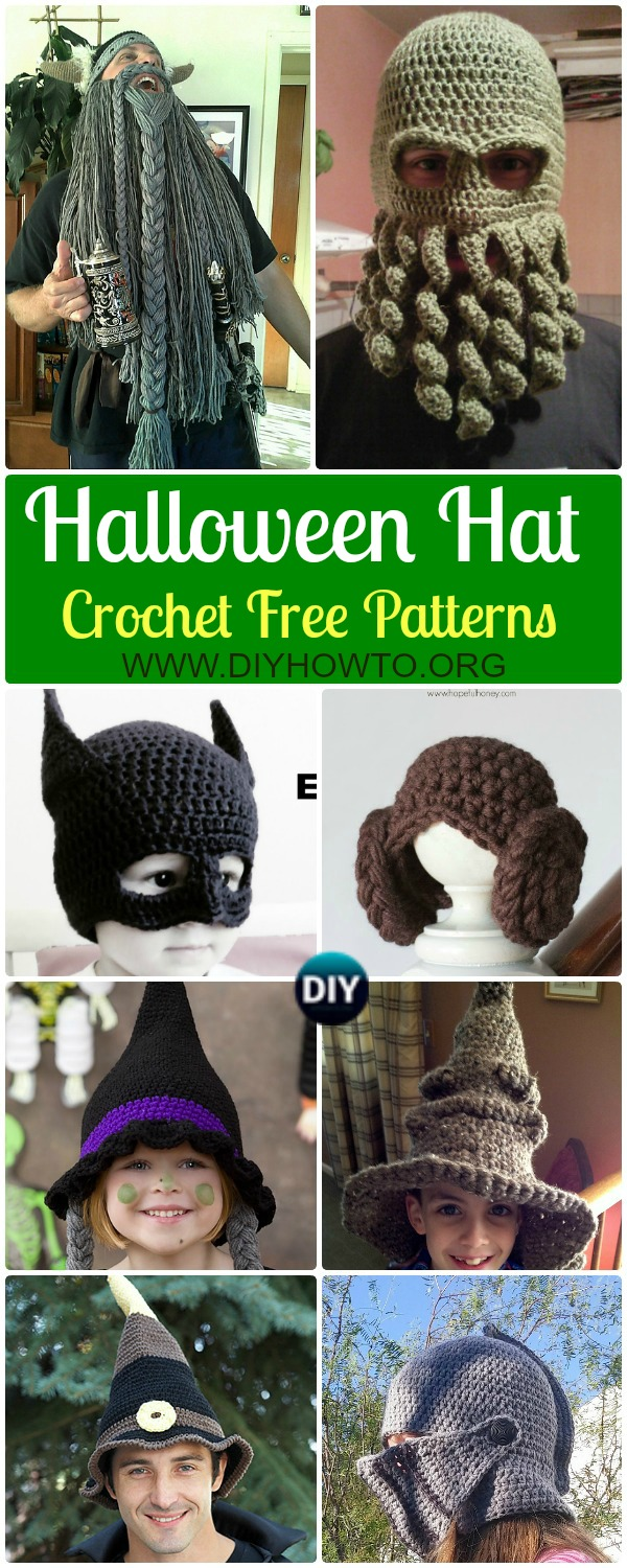 Collection of Crochet Halloween Hat Free Patterns: Witch Hat, wizard hats,Helmet Hat, batman, Harley Quinn Hat, Viking Beard for Kids and Adult, Men and Women