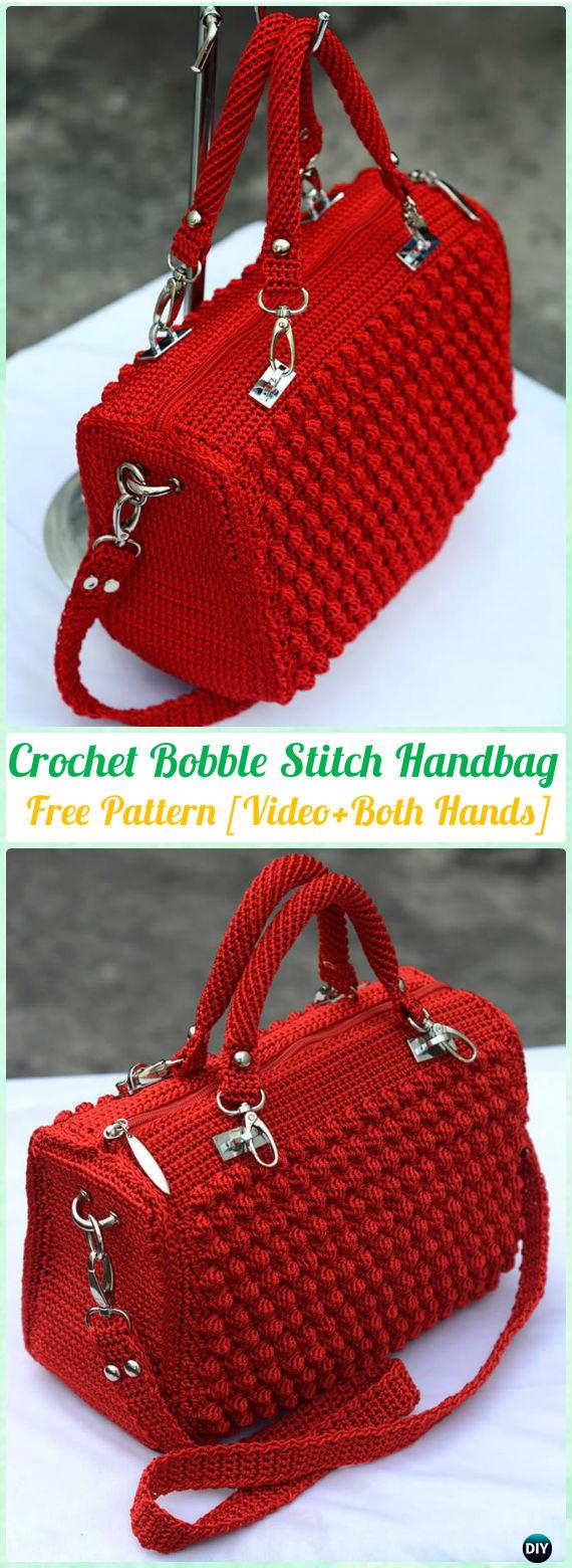 Crochet Bobble Sch Handbag Free Pattern Video Patterns
