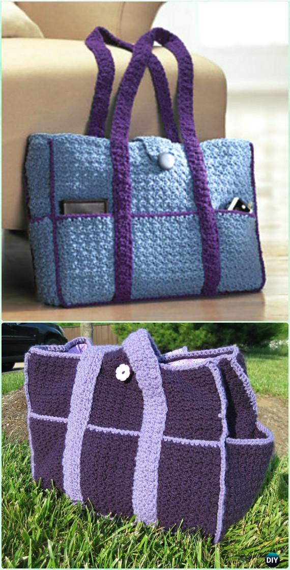 Crochet Eight Pocket Carryall Tote Free Pattern Crochet Handbag