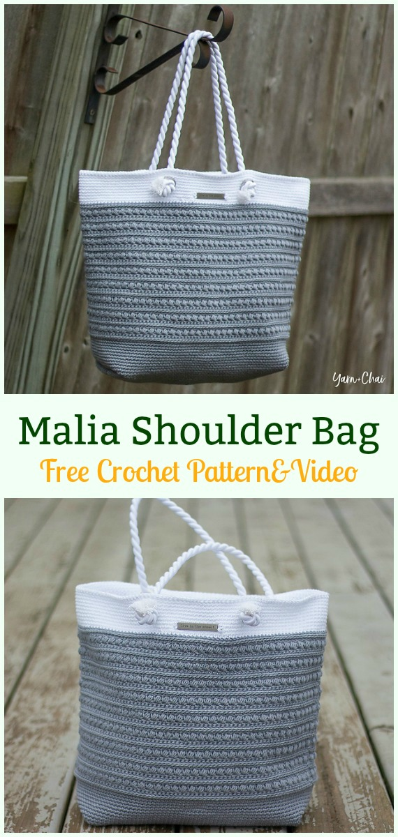 Malia Shoulder Bag Free Crochet Pattern - #Crochet #Handbag Free Patterns