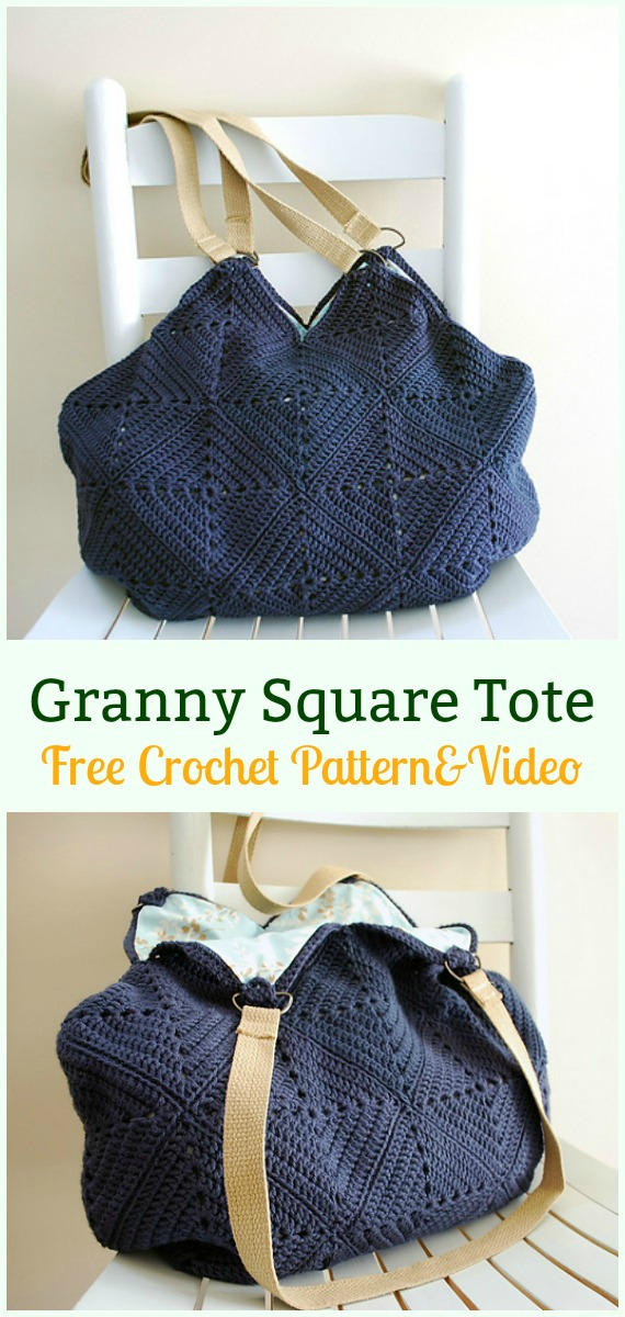 Granny Square Tote Bag Free Crochet Pattern - #Crochet #Handbag Free Patterns