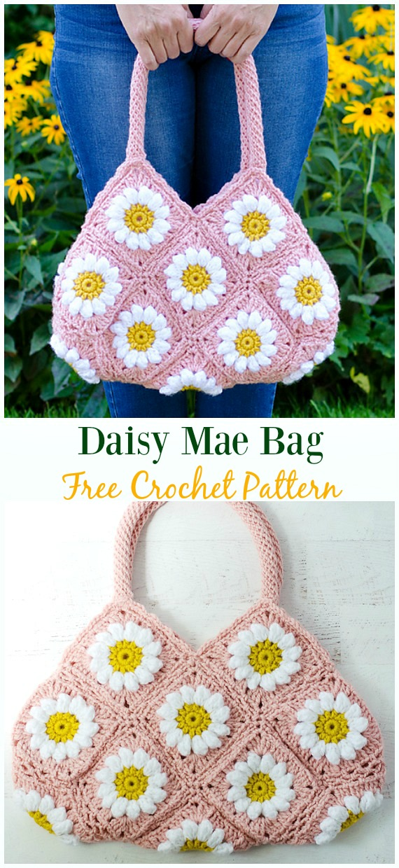 Daisy Mae Bag Free Crochet Pattern - #Crochet #Handbag Free Patterns