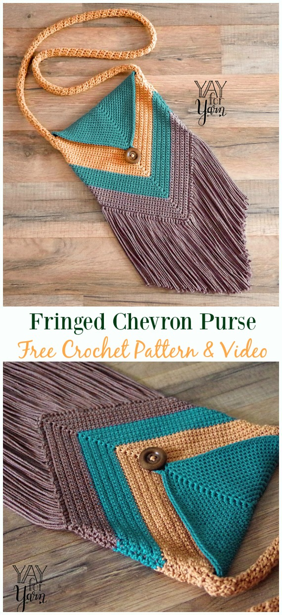 Fringed Chevron Purse Free Crochet Pattern & Video - #Crochet #Handbag Free Patterns