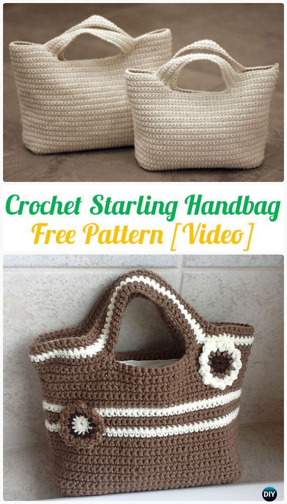 CrochetStarling HandbagFree Pattern [Video] - #Crochet Handbag Free Patterns