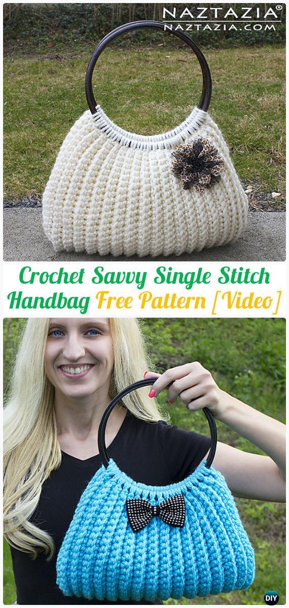 CrochetSavvy Single Stitch HandbagTote Free Pattern [Video] - #Crochet Handbag Free Patterns