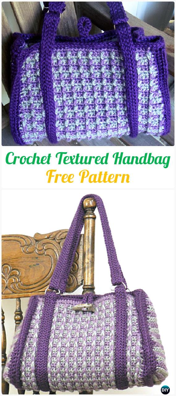 Crochet Textured Handbag Tote Free Pattern - #Crochet Handbag Free Patterns