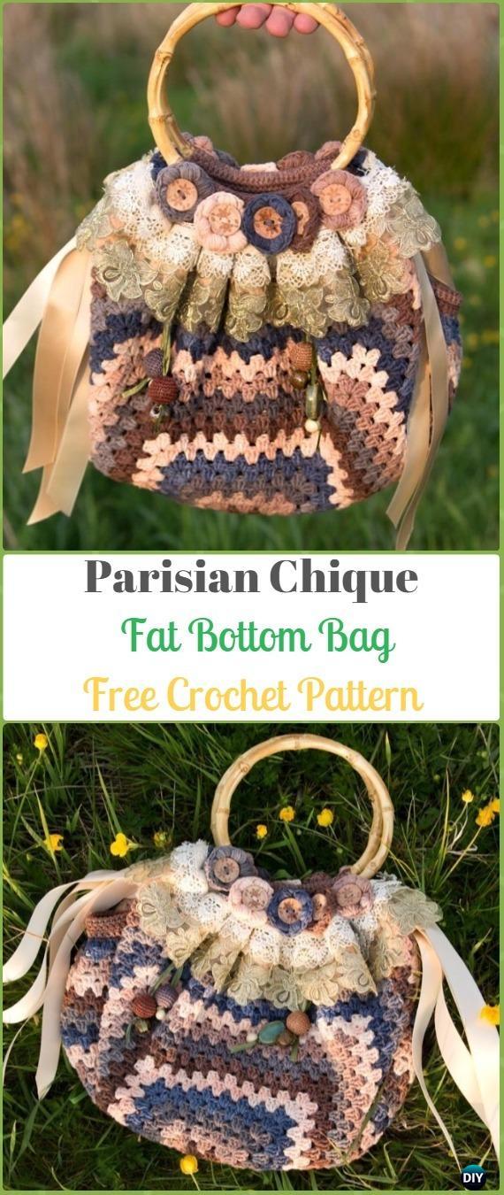 Crochet Parisian Chique Fat Bottom Bag Free Pattern Crochet