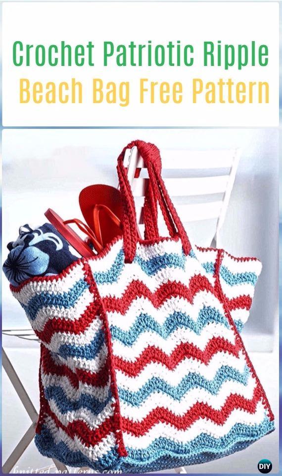 ad44de269b Crochet Patriotic Ripple Beach Bag Free Pattern - Crochet Handbag Free  Patterns